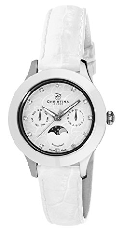 Christina Design London Diamond Night Moonphase women's quartz Watch with white Dial analogue Display and white leather Strap C307SWW