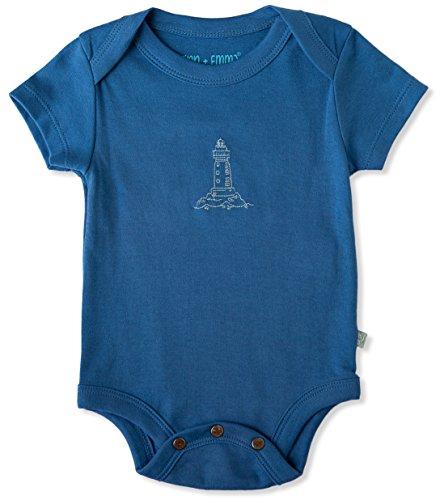Finn + Emma Organic Cotton Baby Boy Lap Shoulder Bodysuit 3-6M - Sailor Delft Blue