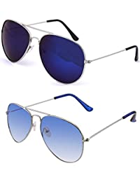 SHEOMY SUNGLASSES COMBO - SILVER BLUE MERCURY AVIATOR SUNGLASSES AND AVIATOR SILVER BLUE SUNGLASSES WITH 2 BOXES...