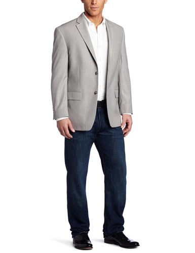 Haggar Men's Linen Stripe Two Button Center Vent Sport Coat, Gray, 38 R