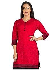 Jaipur Kurti's Pure Cotton 3/4 Sleeve Red Kurti