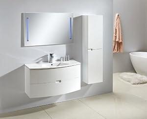 Badmöbel Set Badezimmer Garnitur ALBA 100 in weiß mit Waschtisch, Schrank und Touch LED Wandspiegel  Rezension