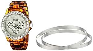 Breda Women's 8140-tortsilver.BR Cassandra Rhinestone Accented Tortoise Watch with Classic Jewelry Bangle Set
