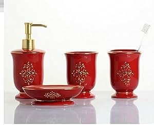 red floral 4 piece set ceramic bathroom accessory luxury decor elegant. Black Bedroom Furniture Sets. Home Design Ideas