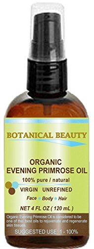 ORGANIC EVENING PRIMROSE OIL. 100% Pure / Natural / Undiluted / Unrefined /Certified Organic/ Cold Pressed Carrier Oil. Rich antioxidant to rejuvenate and moisturize the skin and hair. 4 Fl.oz - 120ml. by Botanical Beauty