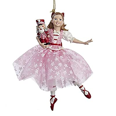 The Nutcracker Suite Clara in Pink Dress Holding Nutcracker Christmas Ornament