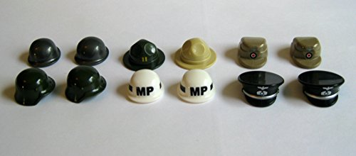 Custom-12-pc-WW2-Helmet-Lot-for-Lego-Minifigures-Brickforge