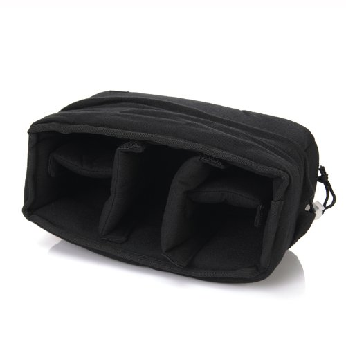 Koolertron - Nouveau Sac anti-choc pour DSLR SLR caméra appareil photo reflex - par Velvet - pour SONY DSLR Canon Nikon avec objectif (Noir)