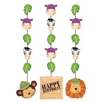 "Creative Converting BB991520 Wild Safari Hanging 36"" Decorations with Cutouts -3 Piece - 1"
