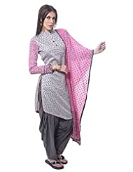 Utsav Fashion Women's Light Grey Cotton Readymade Asymmetrical Salwar Kameez-Large