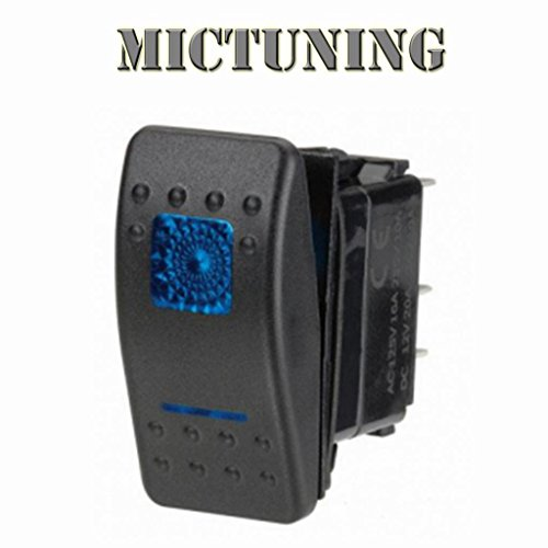 Rocker Switch Blue Dual Led Lights 5 Pins Spst 20A 12V On/Off Switch Waterproof With Free Connectors - Off Road Car Marine