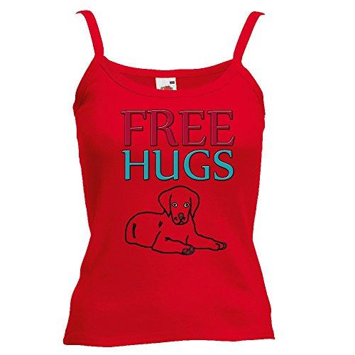 Divertente 058, Free Hugs, Rosso Fruit of the Loom Women Strap Tee Cotone Top e Canotte Spalline Donna con Design Colorato. Taglia XS.