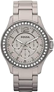 Women Watch Fossil CE1062 Ceramic Case and Bracelet Crystals Quartz Chronograph