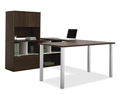 Bestar 50851 U Shaped Desk with Storage Tuxedo