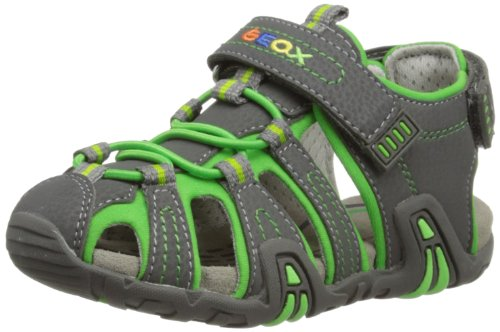 Geox Boys B Sandal Kraze C Fashion Sandals B4224C0CE15C1267 Dark Grey/Lime 9 UK Child, 27 EU