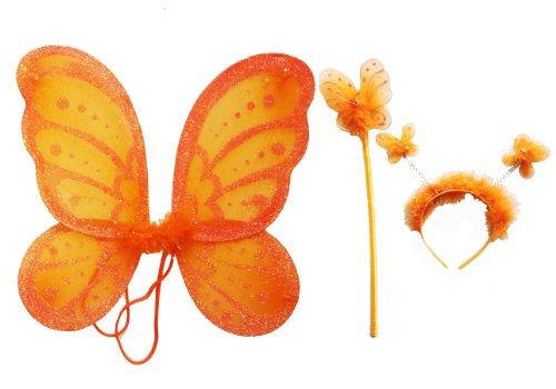 LolaSaturdays 3 Pc Set Orange Fairy Princess Butterfly Angel Costume Dress-up Wings