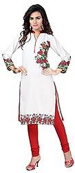 INDIAN FASHION LADY Women's crepe Kurtas (Ifl-114 , White)