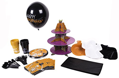[Halloween Party Pack 86-Piece Party Pack Kids (and Moms) Will Love. Everything You Need-and More-to Throw an Awesome (and Easy) Halloween Party (16 place] (Holloween Spirits Costumes)