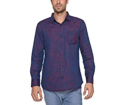 Copperstone Men's Casual Shirt (8903944590991_Red_X-Large)