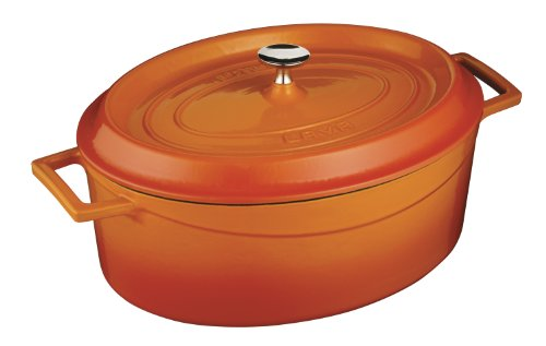 Lava Oval Series Enameled Cast-Iron Dutch Oven - 5 Quart, Orange Spice front-610135