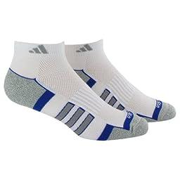 adidas Men\'s Climalite II Low Cut Sock (2-Pair), White/Cobalt/Aluminum 2/Aluminum 2 Marl, Size 6-12