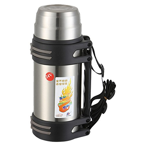 TAICHENG Car Electric Kettle Boiling DC 12V Cigarette Lighter Heating Cup Vacuum Insulated Stainless Steel-Black 850ml-Silver (Electric Kettle For Car compare prices)