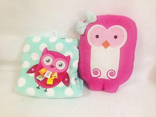 Plush Baby Blanket Bundle - Pink Owl Blanket and Matching Pink Owl Pillow - 1