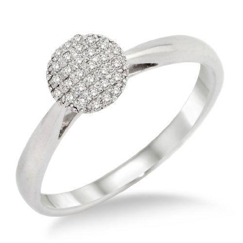 Engagement Ring, 9ct White Gold, Diamond Solitaire Engagement Ring, 0.14 carat Diamond Weight, Size Q, by Miore, MP9026RR