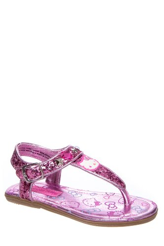 Hello Kitty Kid's Shimmer Ankle Strap Thong Sandal