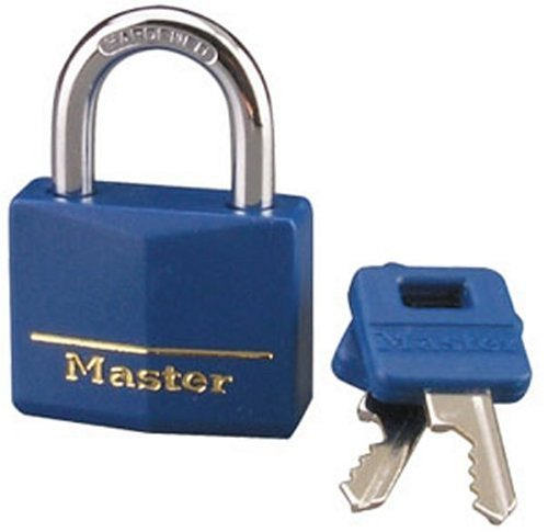 Master Lock 142DCM Brass Lock with Blue Cover, 1-9/16-inch