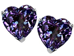 Star K 7mm Heart Shape Simulated Alexandrite Earrings Studs
