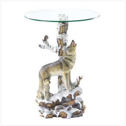 Wolf Glass Top End Table