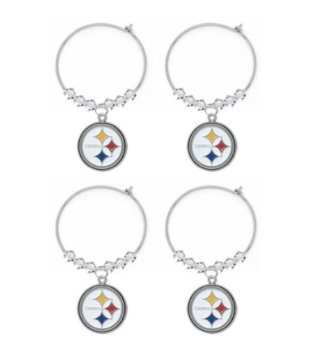 Pittsburgh Steelers Premium Crystal Wine Charms 4 Pack (Gift Box Included) at Amazon.com