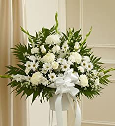 1-800-Flowers - Heartfelt Sympathies White Standing Basket - Small