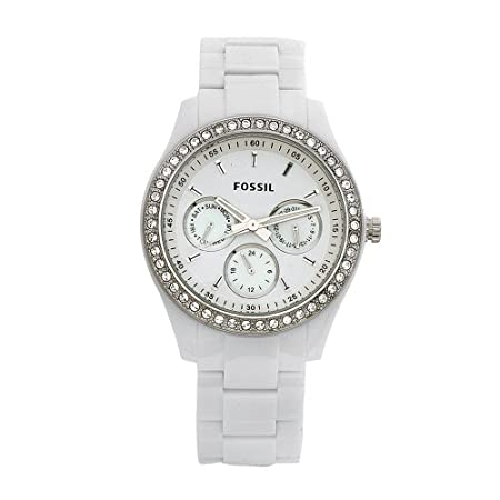 Truly a remarkable timepiece with loads of character, the Fossil Women's Stella Day/Date Display Quartz White Dial Watch will quickly grab the attention of passersby with an eye for fashion. This exceptional timepiece begins with a 42mm white resin c...