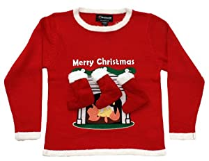 Children's Fireplace Sweater with 3-D Stockings in Red - Ugly Christmas Sweater