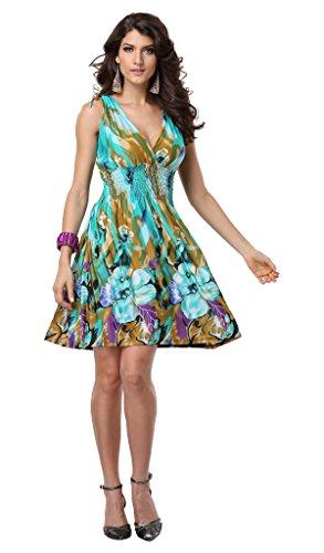 Jinhuanshow Women's Spring Summer Bold Printed Dresses Flower14 (Medium, Color3)