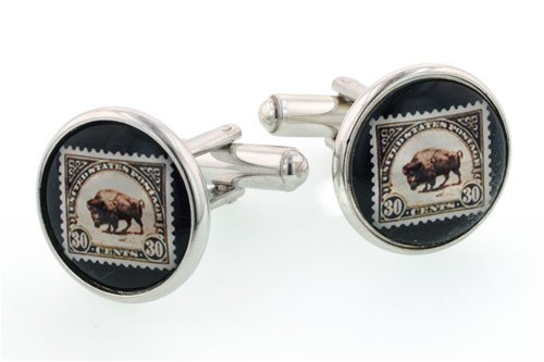 Silver plated Buffalo stamp cufflinks with presentation box. Made in the U.S.A