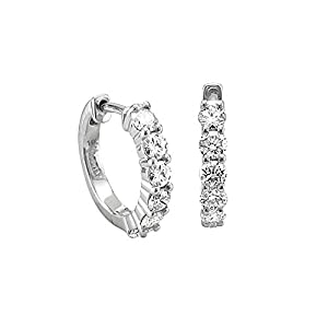 14k Gold 6 Stone Hoop Diamond Earrings (GH, I1-I2, 0.74 carat) from Diamond Delight