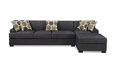 Case De Andrea Milano 2-Piece Faux Linen Sectional Sofa with Reversible Chaise, Ash Black