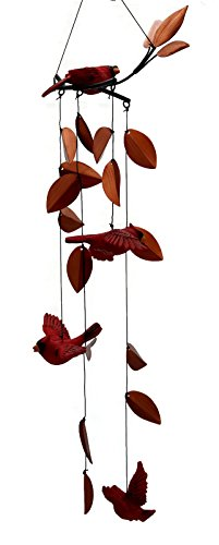 Russ Berrie Outdoor Garden Cardinal Birds Wind Chimes, 25 Inches Long
