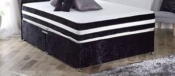 """Quality Sleepkings Mattresses – 9"""" Super Firm Orthopaedic Mattress – Black Crushed Velvet Border (6ft Super Kingsize)"""