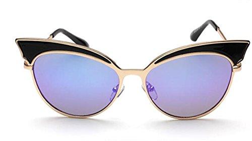 GAMT Trend Retro Sexy Cat Eye Sunglasses Yurt Sun Glasses Black Frame Blue Lens