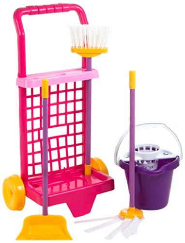 ColorBaby - Juego de imitación, carrito de limpieza con cubo, escoba, recogedor y fregona, rojo y naranja (40594)