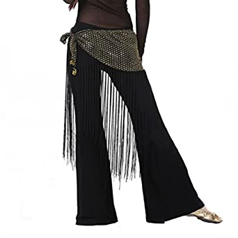 Sulida Women's Belly Dance Hip Scarf Highlights Cloth with Long Tassels