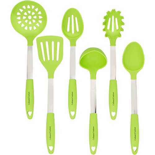 Lime Green Cooking Utensil Set - Stainless Steel & Silicone Heat Resistant Kitchen Tools - Ladle, Spatula, Mixing & Slotted Spoon, Pasta Fork Server, Drainer - Bonus Ebook!