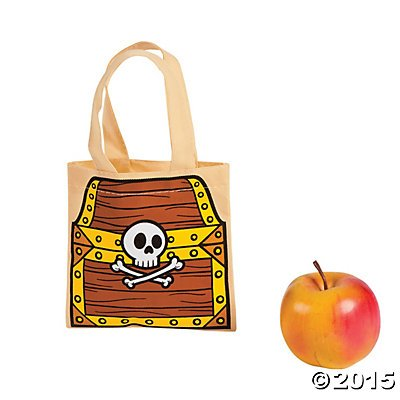 "12 ~ Pirate Treasure Chest Tote Bags / Gift Bags ~ Non-woven Polyester ~ Approx. 6"" (Small) ~ New - 1"