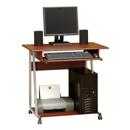 Buy Low Price Comfortable Mobile Computer Desk Cart – Cherry and Silver Finish (B004XEK8SI)