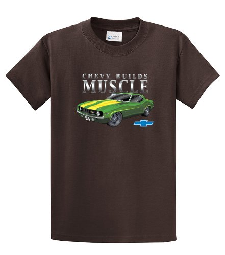 Chevrolet Camaro T-shirt Chevy Builds Muscle-brown-xxl