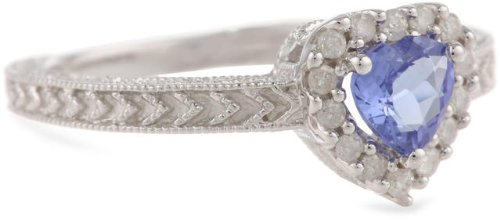 Sterling Silver Tanzanite and Diamond Heart Ring (1/7 Cttw, H-I Color, I3 Clarity), Size 8
